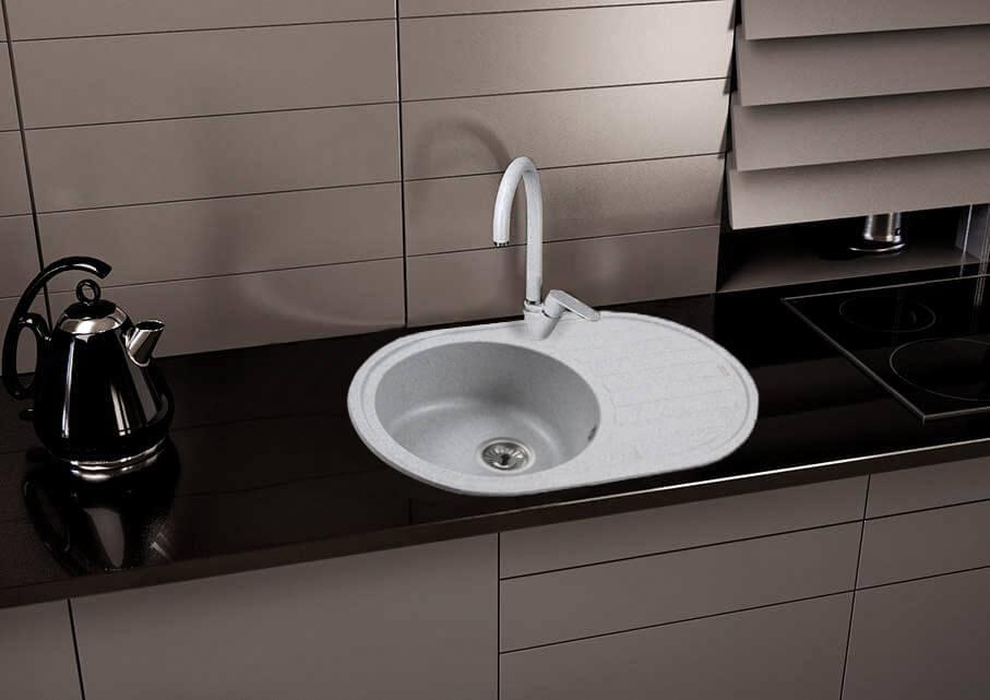 фото кам'яна мийка EMILIA (GRAY GRANIT) 770x500x195 Ventolux
