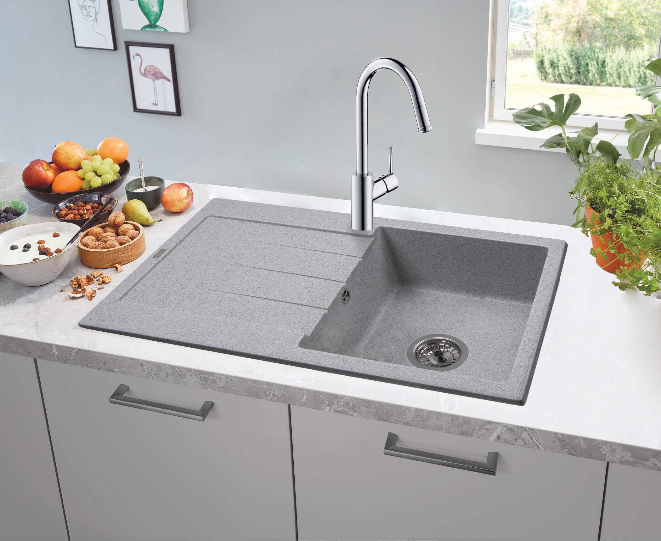 фото кам'яна мийка STELLA (GRAY GRANIT) 780x500x200 Ventolux